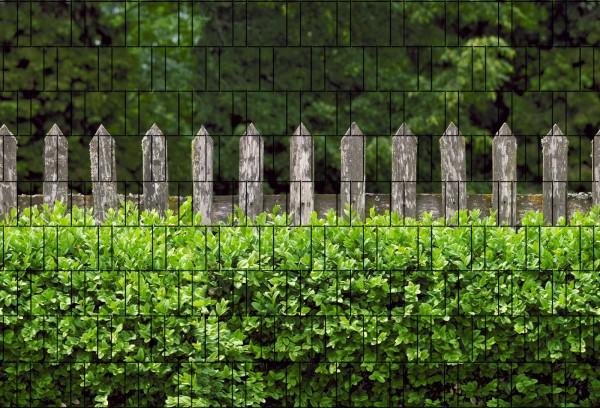 Holzzaun & Buxus - Bedruckter Zaun Sichtschutz
