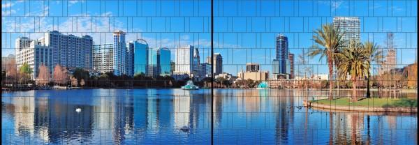 Orlando - Panorama XL bedruckte Sichtschutzstreifen für Doppelstabmattenzaun