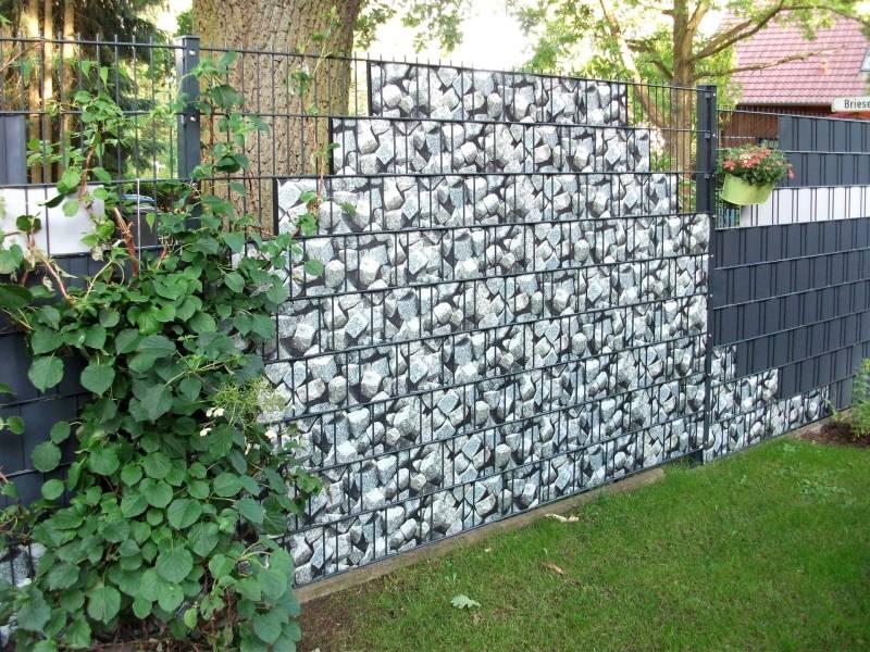 Zaun Sichtschutz Steinmotiv