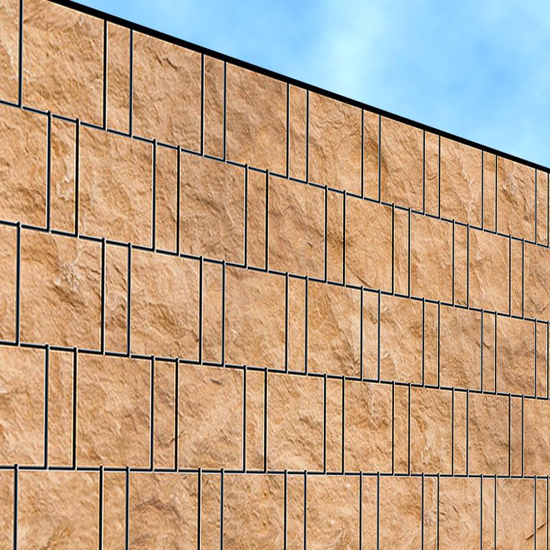sandsteinwand doppelstabmatten sichtschutzstreifen zaundruck shop sichtschutzstreifen. Black Bedroom Furniture Sets. Home Design Ideas