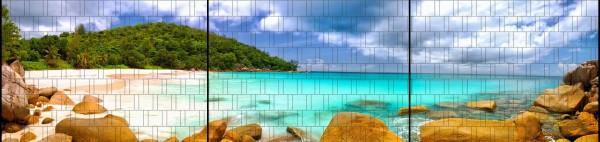 Lagune 2 - Panorama XXL bedruckte Sichtschutzstreifen für Doppelstabmattenzaun