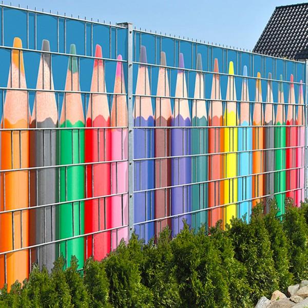 Buntstiftreihe - Bedruckte Sichtschutzstreifen für Zäune im Garten