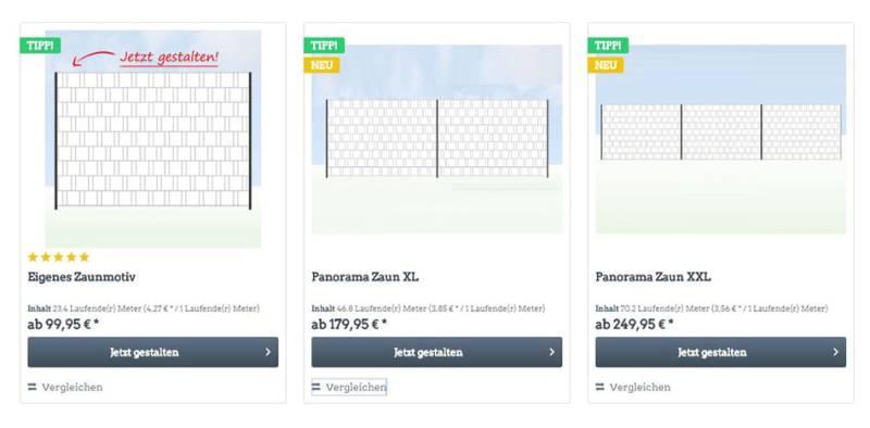 Sichtschutz Zaunmotiv erstellen Panorama auswählen