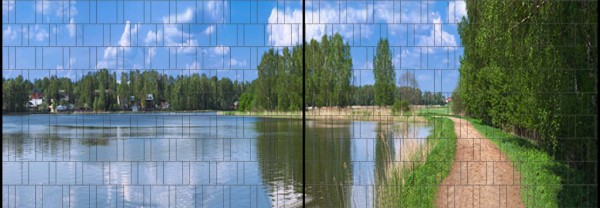 See - Panorama XL bedruckte Sichtschutzstreifen für Doppelstabmattenzaun