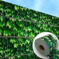 Weinblatt grün - Bedruckter Zaunstreifen auf Rolle für Gitterzäune