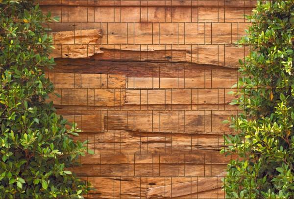 Holz & Lorbeer - Bedruckter Zaun Sichtschutz